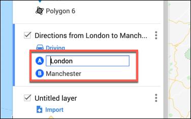 Geben Sie die Abfahrts- und Ankunftsorte in die Ebene für benutzerdefinierte Wegbeschreibungen im Google Maps-Karteneditor ein