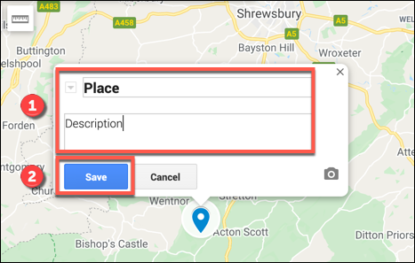 Fügen Sie Ihrem benutzerdefinierten Markierungspunkt einen Namen und eine Beschreibung hinzu, und klicken Sie dann auf Speichern