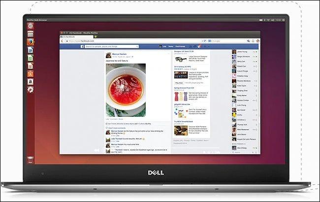Der Dell XPS 13 Developer Edition-Laptop zeigt einen Ubuntu-Desktop.