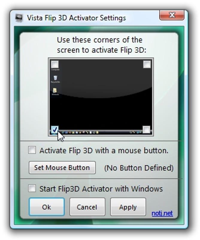 Aktivieren Sie Flip 3D mit Ihrer Maus in Vista