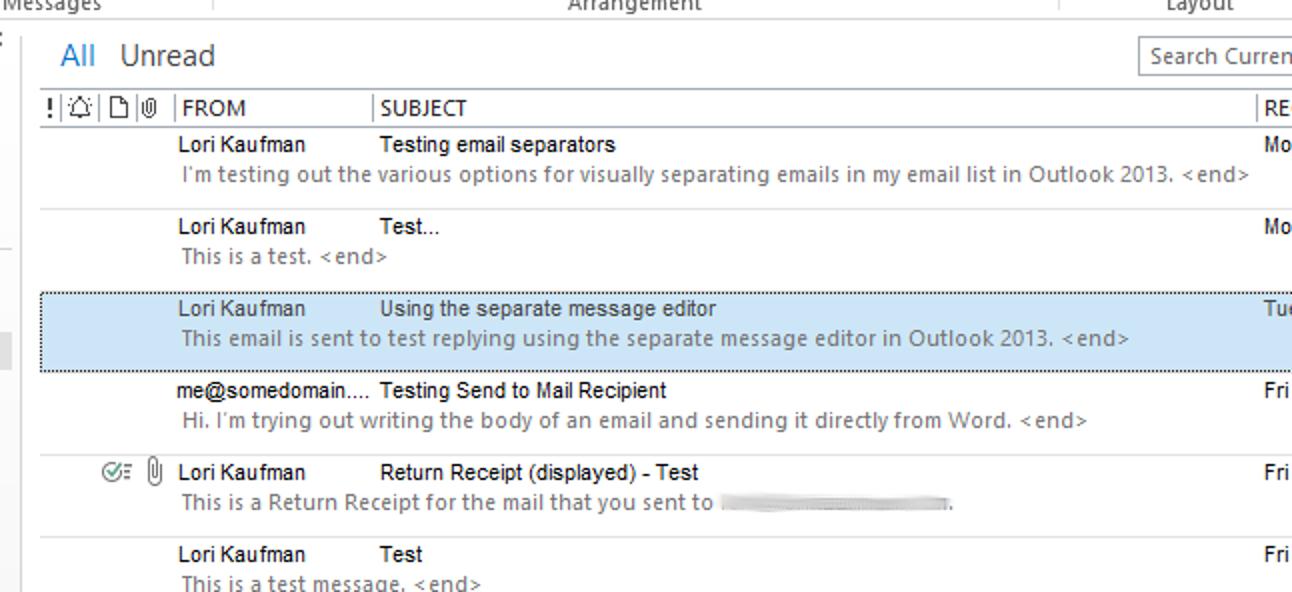 So erstellen Sie eine klarere Trennung zwischen den einzelnen E-Mails in Ihrer Nachrichtenliste in Outlook 2013