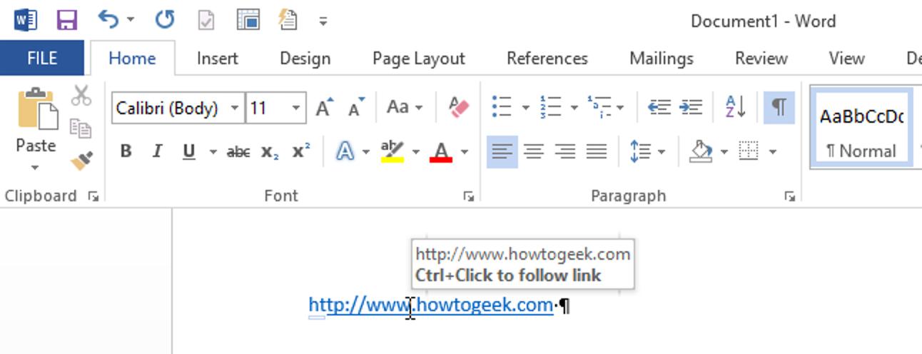 So folgen Sie Hyperlinks in Word 2013, ohne die Strg-Taste gedrückt zu halten