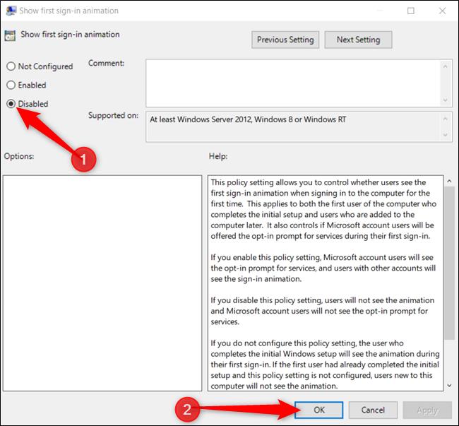"""Drücke den """"Behindert"""" Option, und klicken Sie dann auf """"OK"""" um die Änderungen zu speichern."""