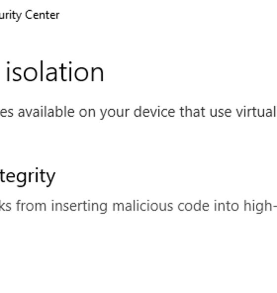 """Was sind """"Core Isolation"""" und """"Memory Integrity"""" in Windows 10?"""