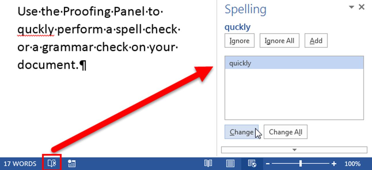 So verwenden Sie das Proofing Panel in Word