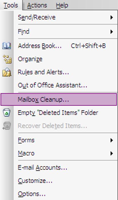 Reinigen Sie Ihren Posteingang in Outlook 2003/2007 schnell