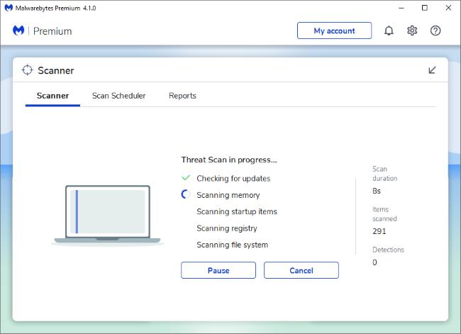 Malwarebytes Premium scannt Windows 10 mit Windows Defender im Hintergrund