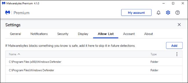 Hinzufügen von Ausschlüssen für Windows Defender zur Malwarebytes-Zulassungsliste.