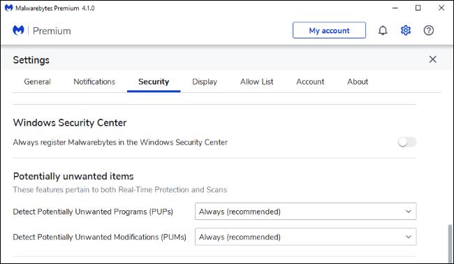 Konfigurieren von Malwarebytes Premium so, dass es sich nicht im Windows-Sicherheitscenter registriert