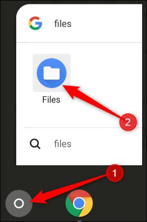 Tippen Sie auf die Schaltfläche Suchen und geben Sie Dateien ein, um die Datei-App zu finden