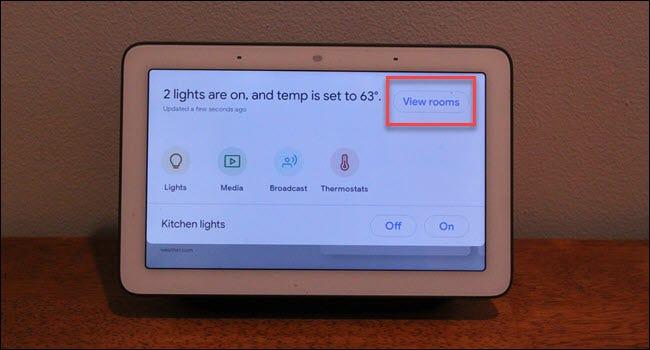 Google Home Hub-Kommandozentrale mit Feld um die Schaltfläche Räume anzeigen