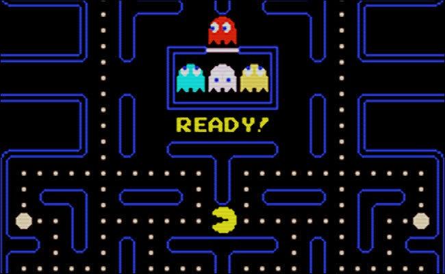 """Das """"Bereit!"""" Bildschirm auf der 1980er Version von """"Pac-Man."""""""