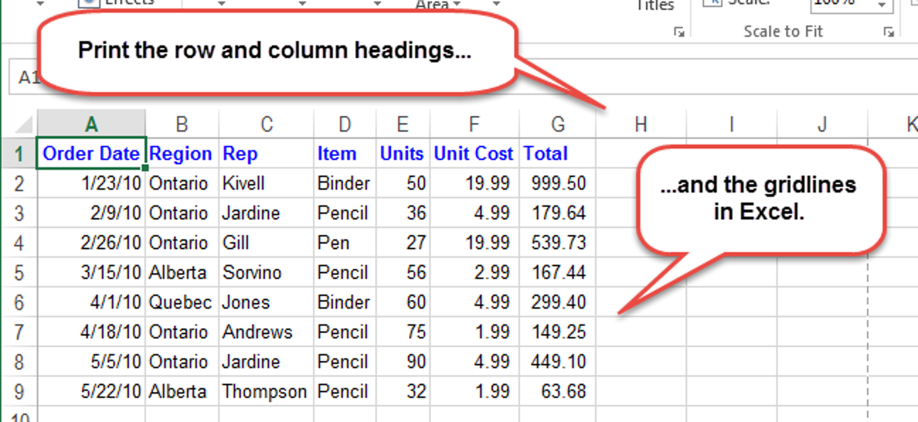 So drucken Sie die Gitterlinien sowie Zeilen- und Spaltenüberschriften in Excel