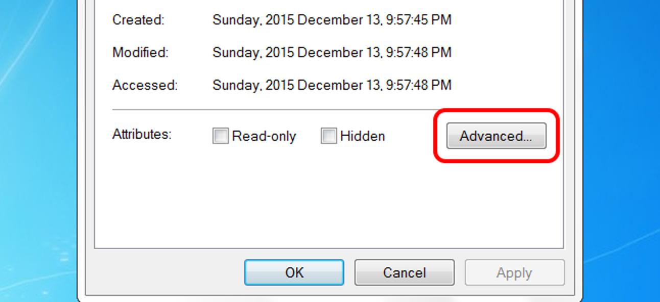 Warum wird die Schaltfläche Erweiterte Attribute manchmal durch ein Archiv-Kontrollkästchen ersetzt?
