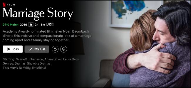 """Das """"Ehegeschichte"""" Seite auf Netflix."""