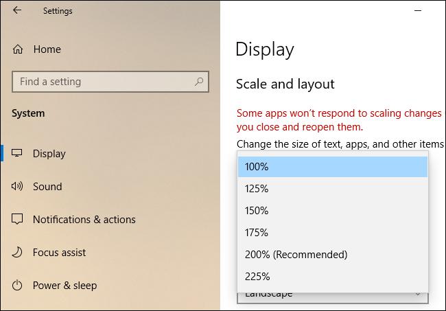 """""""Maßstab und Layout"""" Einstellungen unter Windows 10."""