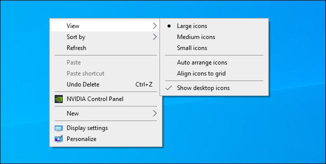 Auswählen der Größe des Windows-Desktopsymbols aus dem Kontextmenü des Desktops.