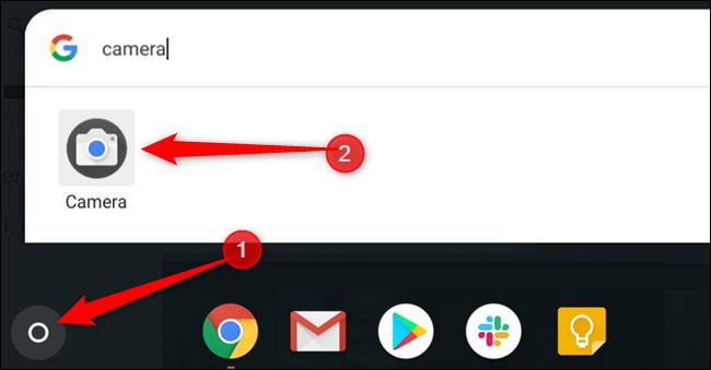 Tippen Sie auf die Schaltfläche Suchen und geben Sie Kamera ein, um die Kamera-App zu finden