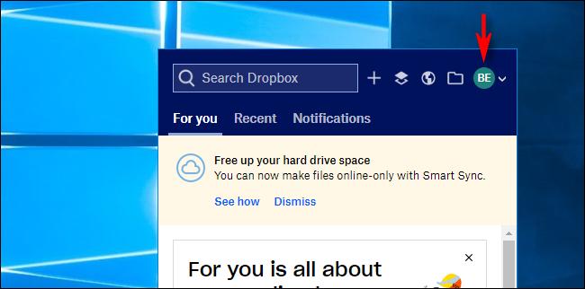 Klicken Sie unter Windows 10 in Dropbox auf Avatar
