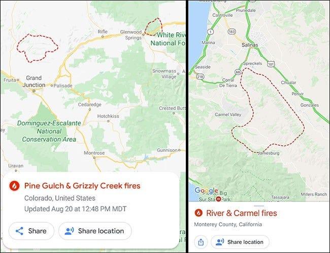 Google Maps mit Feuerstellen auf Android und iPhone