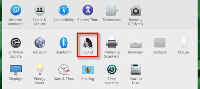 Klicken Sie in den Systemeinstellungen auf dem Mac auf das Sound-Symbol