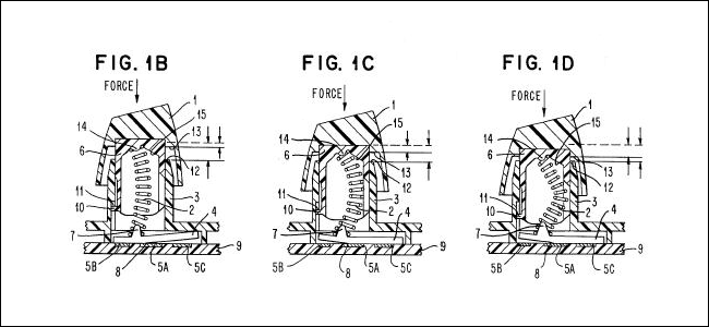 Drei Diagramme des IBM Buckling Spring-Patents.
