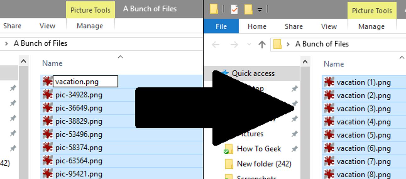 Batch-Umbenennung mehrerer Dateien in Windows