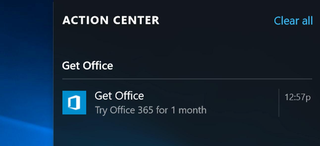 So deaktivieren Sie die Benachrichtigungen zum Abrufen von Office unter Windows 10