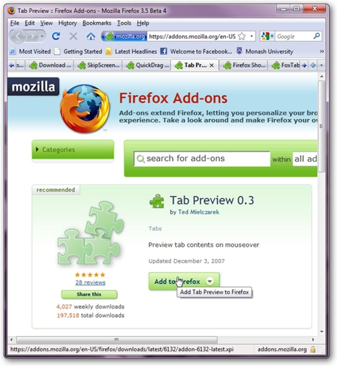 Vorschau von Registerkarten in Firefox mit Registerkartenvorschau 0.3
