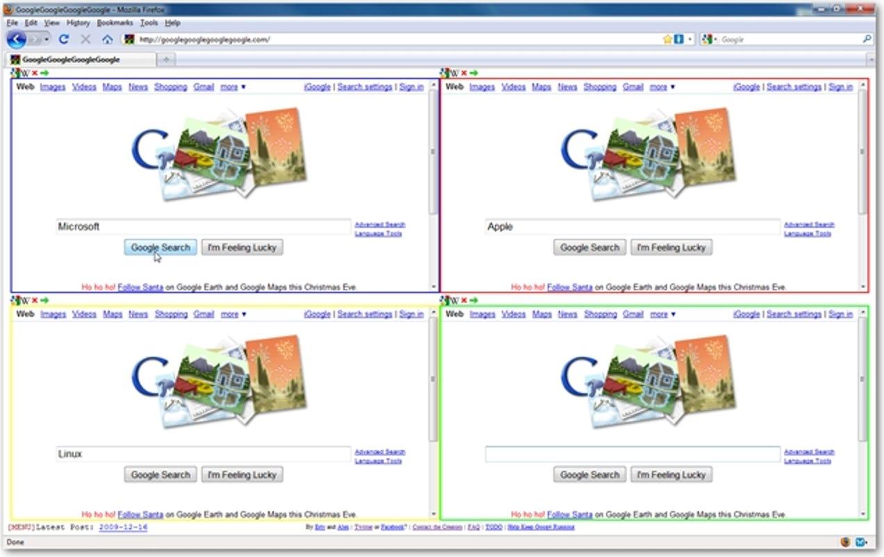 So führen Sie 4 verschiedene Google-Suchvorgänge gleichzeitig auf derselben Registerkarte aus