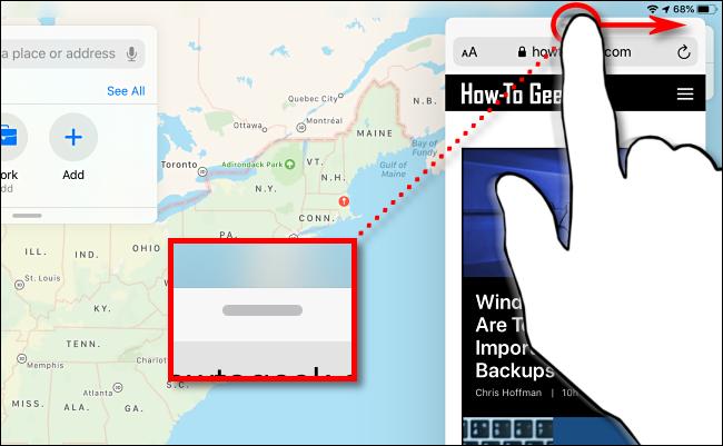 Schieben Sie das Seitenfenster auf das iPad, um es zu verkleinern