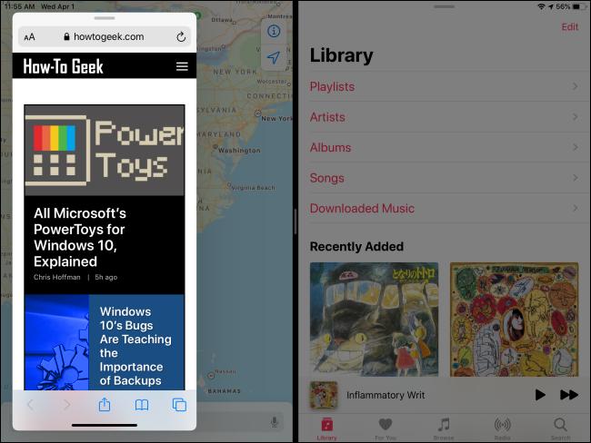 Verwenden von Slide Over und Split View gleichzeitig auf dem iPad