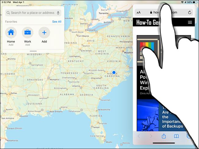 Übergang von Slide Over zu Split View auf dem iPad