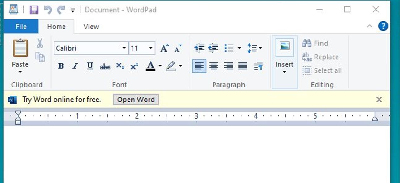 Microsoft testet Anzeigen in WordPad unter Windows 10