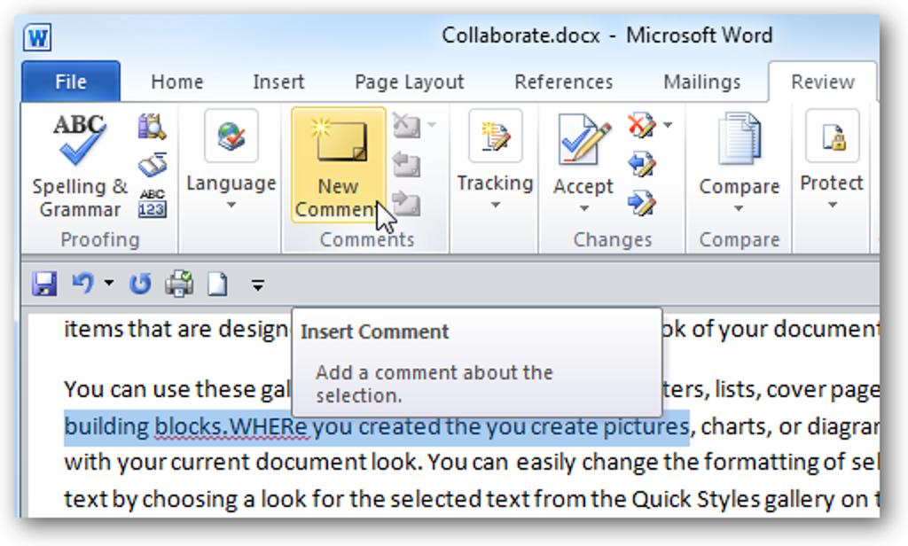 Hinzufügen von Kommentaren zu Dokumenten in Word 2010