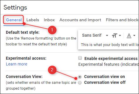 Die Einstellung für die Konversationsansicht in Google Mail