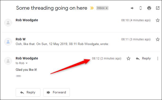 Das Standard-Threading mit der neuen Mail unten