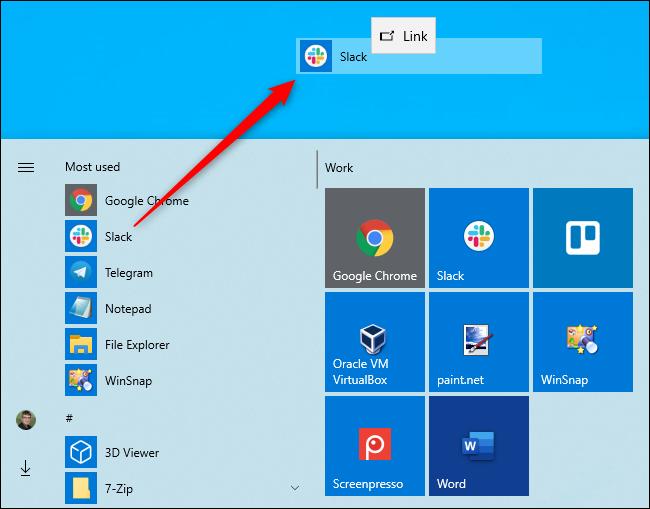 Erstellen einer Desktopverknüpfung über das Startmenü von Windows 10