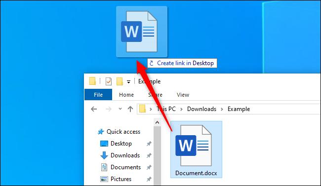 Erstellen einer Desktopverknüpfung aus einer Datei im Datei-Explorer von Windows 10