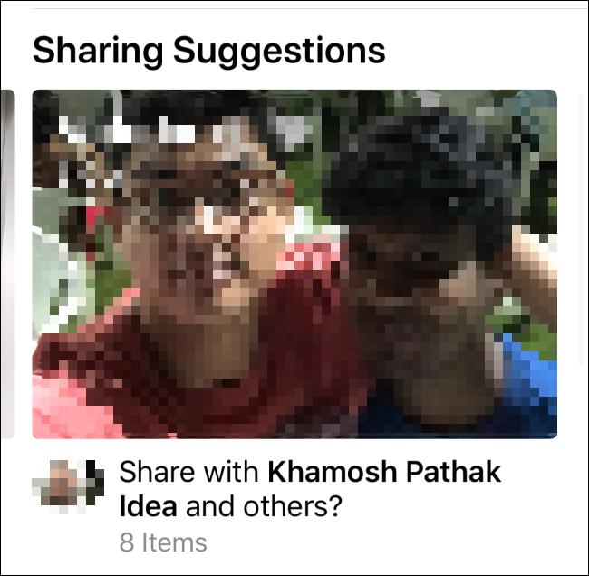 """Ein Bild in der """"Vorschläge teilen"""" Sektion."""