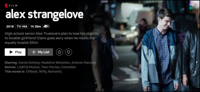 """Das """"Alex Strangelove"""" Seite auf Netflix."""