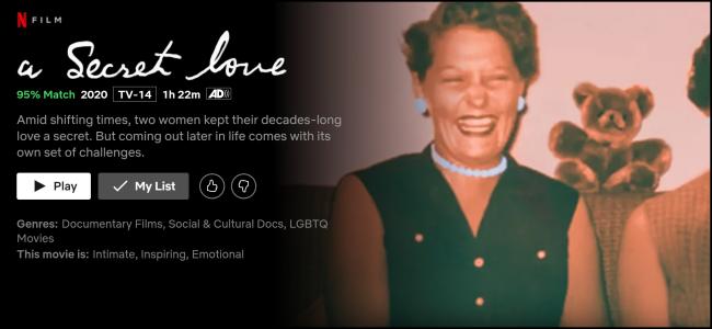 """Das """"Eine geheime Liebe"""" Seite auf Netflix ansehen."""