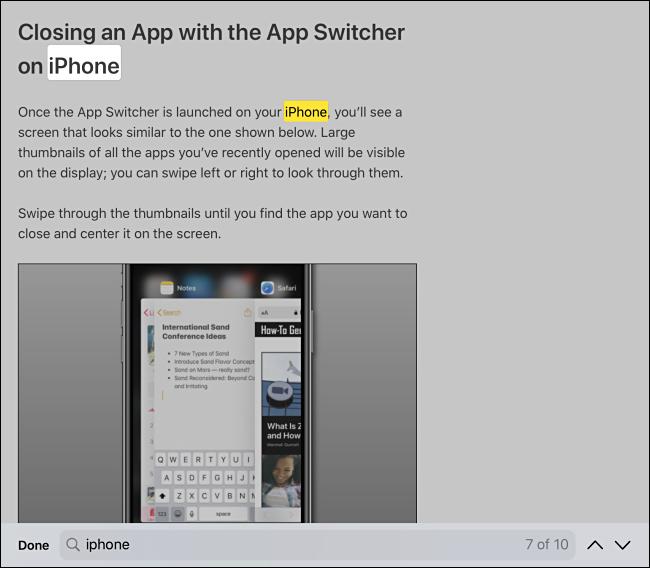 Suchen Sie auf der Seite nach Suchergebnissen in Safari auf iPhone oder iPad
