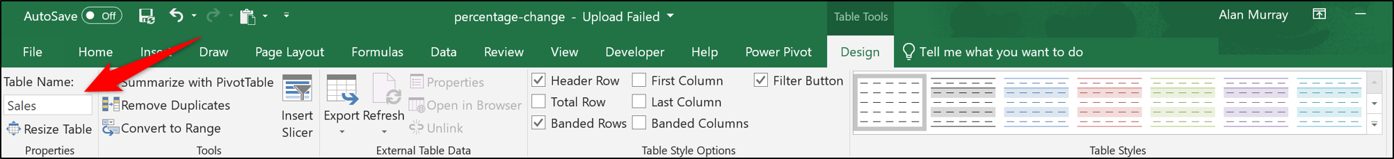 Benennen Sie die Tabelle in Excel