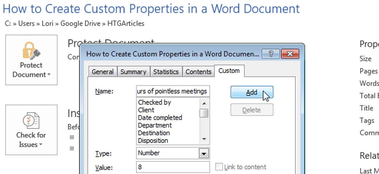 So erstellen Sie benutzerdefinierte Eigenschaften in einem Word-Dokument
