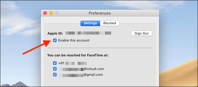 Deaktivieren Sie die Schaltfläche Dieses Konto aktivieren in den FaceTime-Einstellungen, um FaceTime auf einem Mac zu deaktivieren