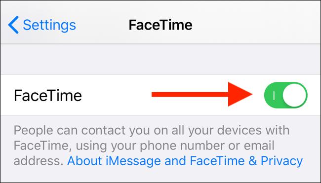 Tippen Sie auf den FaceTime-Schalter, um FaceTime auf Ihrem iPhone oder iPad zu deaktivieren