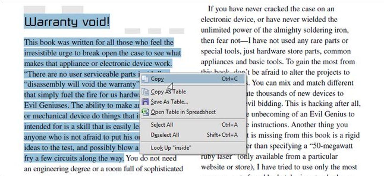 Wie kann ich Text aus einer PDF-Datei kopieren und dabei die Formatierung beibehalten?