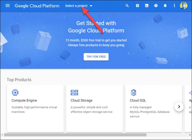 """Klicken """"Wählen Sie ein Projekt aus"""" auf der Google Cloud Platform."""