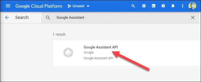 "Drücke den ""Google Assistant API"" Option, wenn es erscheint."
